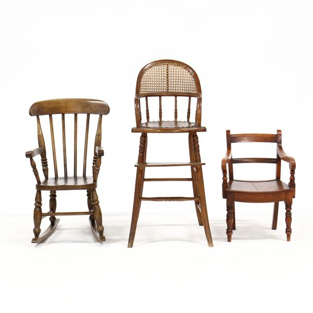 three-vintage-child-s-chairs