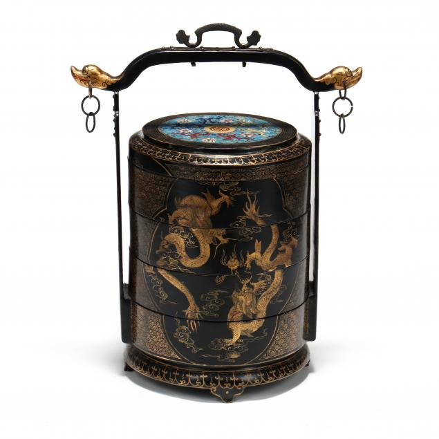a-chinese-black-lacquered-wedding-basket-with-cloisonne-top