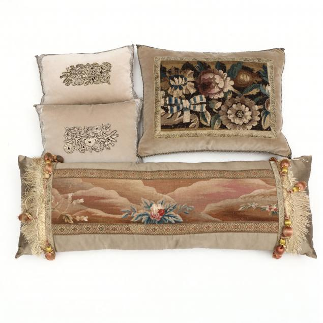 four-pillows-with-antique-embroidery