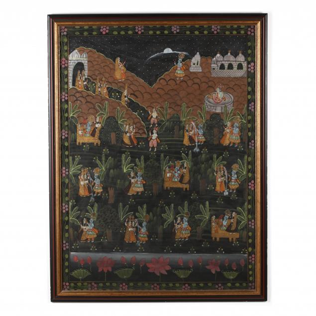 a-large-indian-pichhavai-painting-of-dana-lila