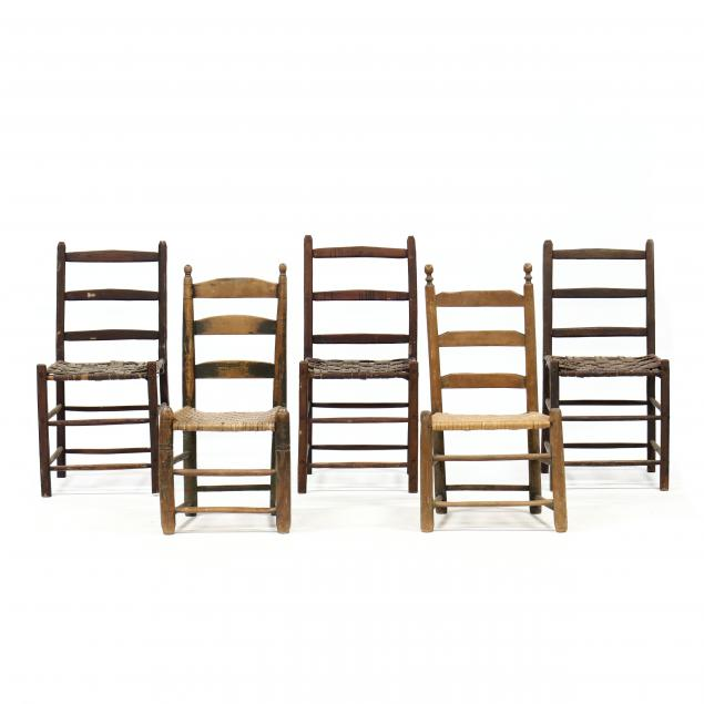 five-antique-primitive-ladderback-chairs