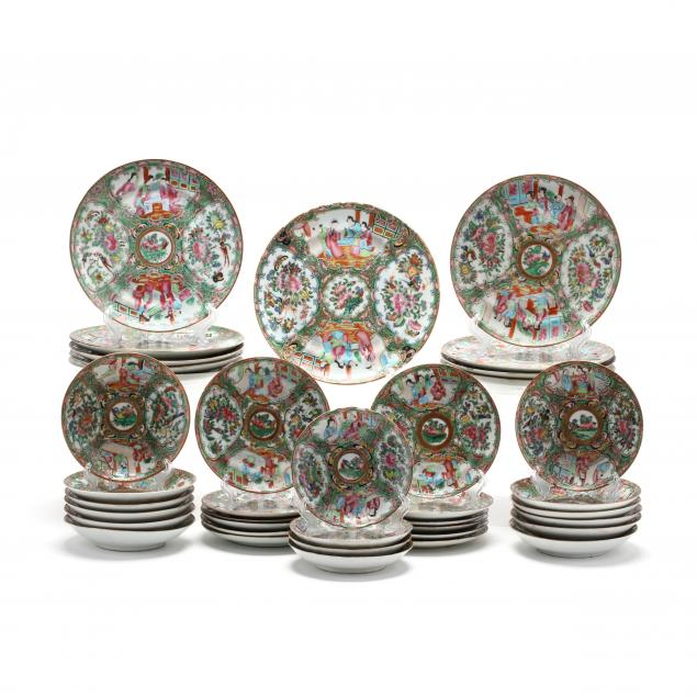 a-thirty-eight-piece-group-of-chinese-rose-mandarin-export-porcelain
