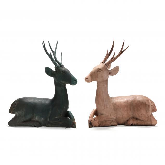 pair-of-southeast-asian-carved-wood-deer