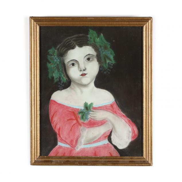 an-antique-pastel-drawing-of-a-young-girl-with-grapes
