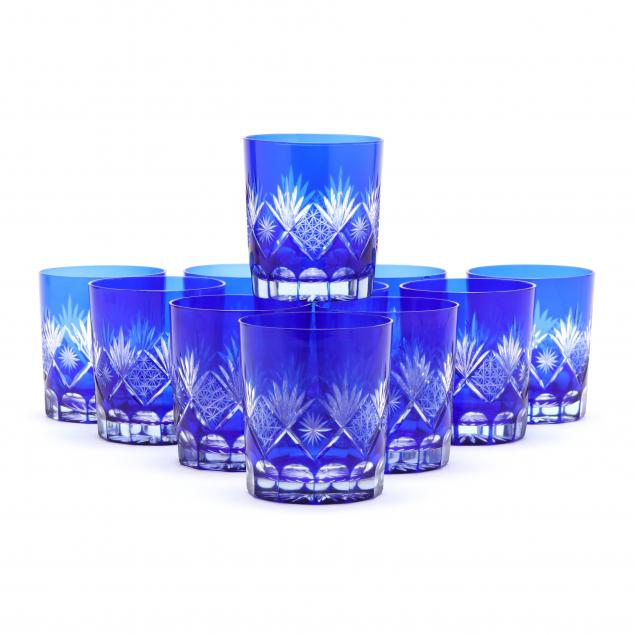 set-of-eleven-cobalt-cut-to-clear-glass-tumblers