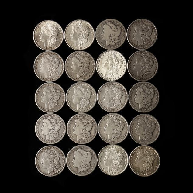 twenty-20-circulated-morgan-silver-dollars