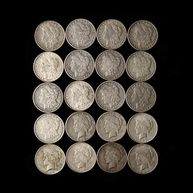 mixed-group-of-20-circulated-morgan-and-peace-silver-dollars