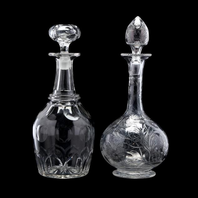 two-antique-cut-crystal-decanters