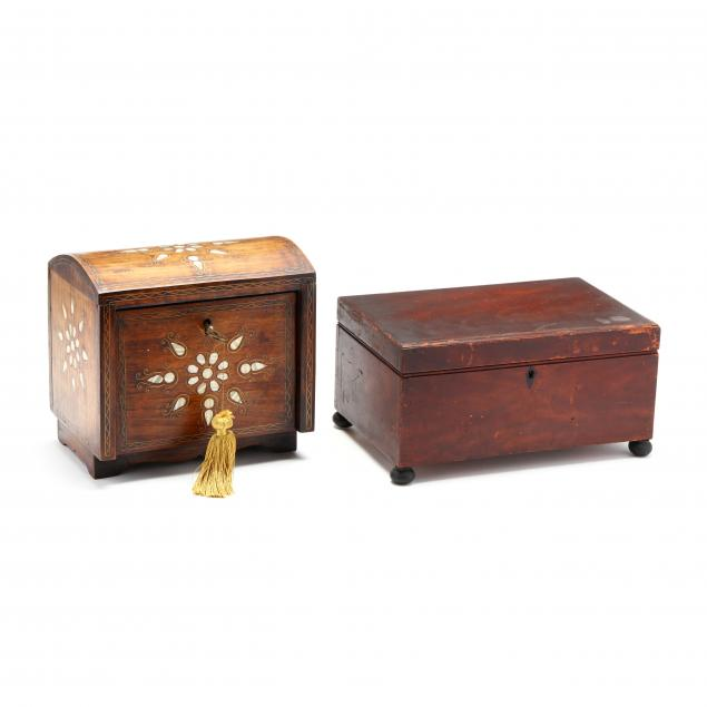 antique-sewing-box-and-inlaid-jewelry-box