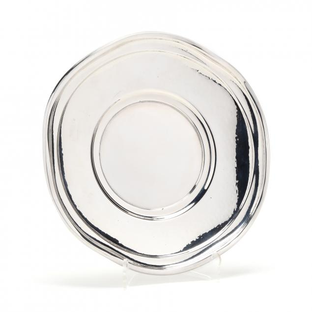 an-art-deco-hammered-silver-cake-plate
