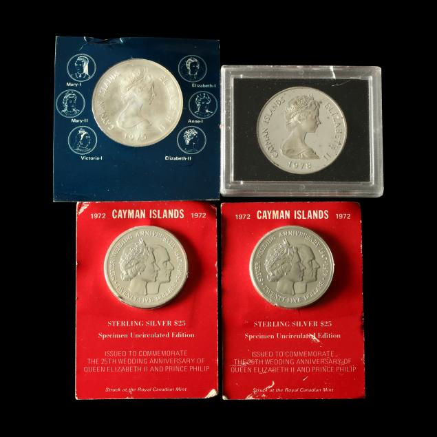 four-cayman-islands-large-silver-commemorative-coins