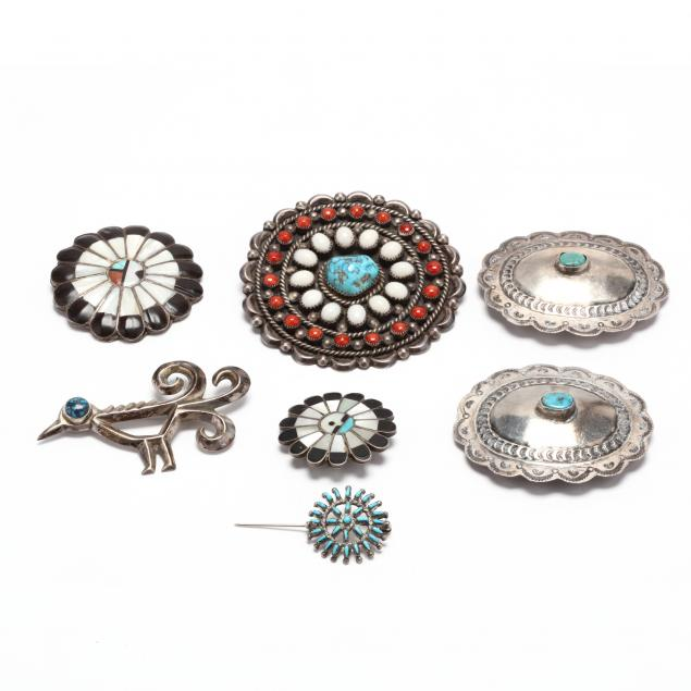 seven-southwestern-silver-and-gem-set-jewelry-items