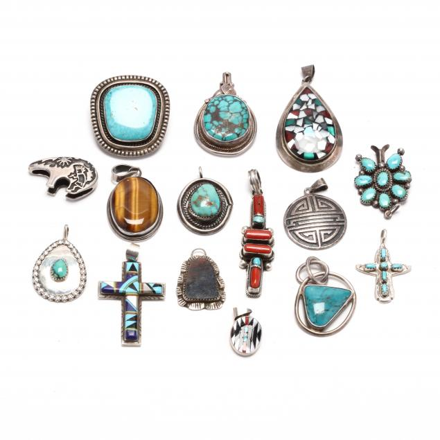 group-of-southwestern-silver-and-gem-set-pendants
