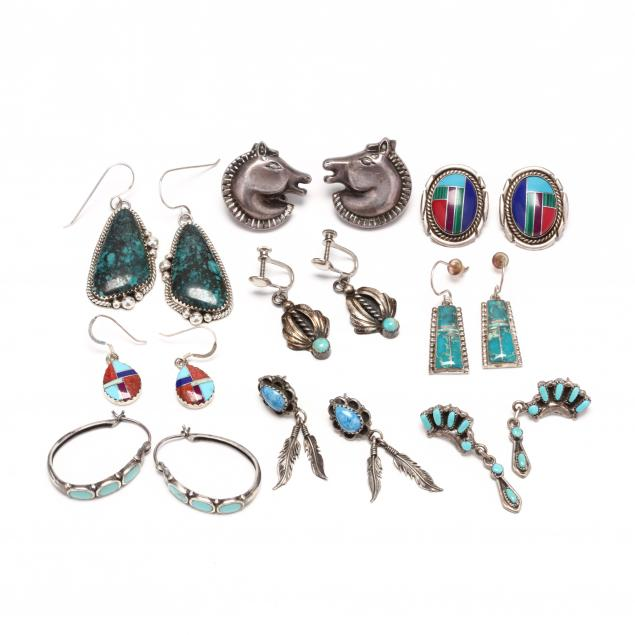 nine-pairs-of-southwestern-silver-and-gem-set-earrings