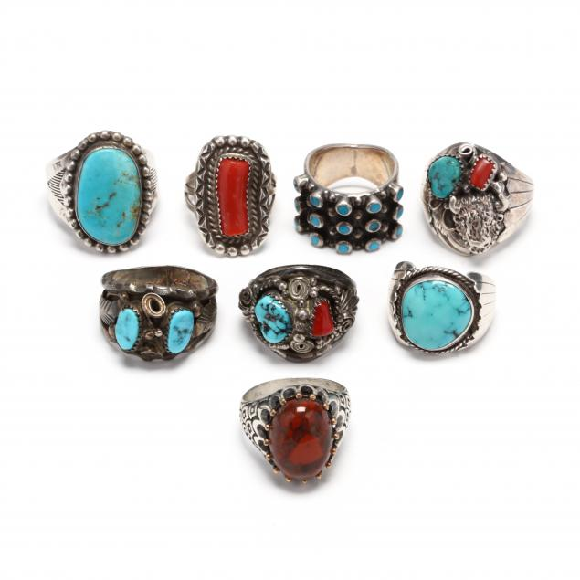 eight-southwestern-silver-and-gem-set-rings