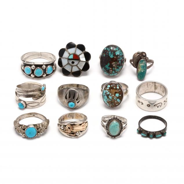 group-of-southwestern-silver-and-gem-set-rings