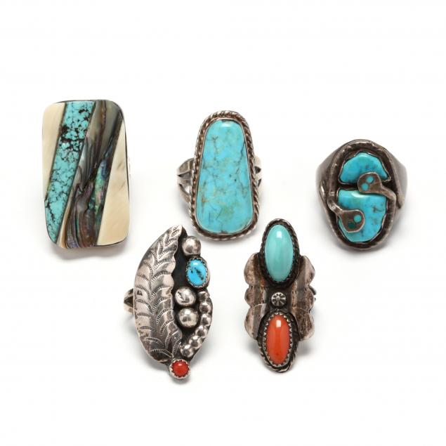 five-southwestern-silver-and-gem-set-rings