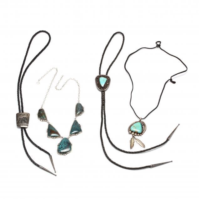 four-southwestern-silver-and-gem-set-items