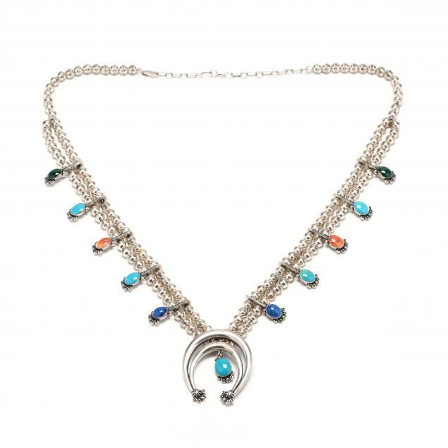 southwestern-silver-and-gem-set-squash-blossom-necklace