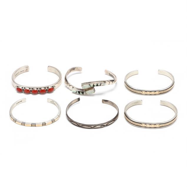 six-southwestern-silver-and-gem-set-cuff-bracelets