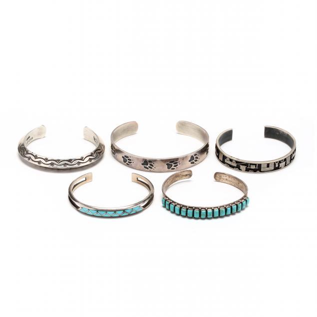 five-southwestern-silver-cuff-bracelets