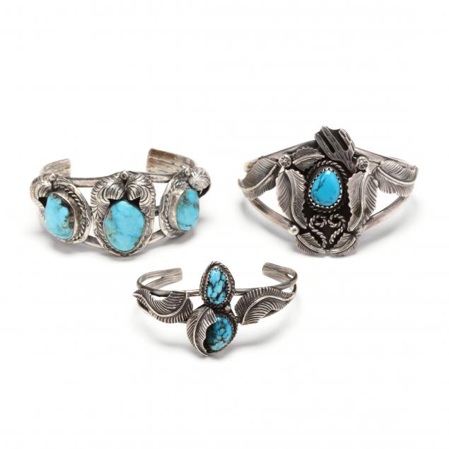 three-southwestern-silver-and-turquoise-cuff-bracelets