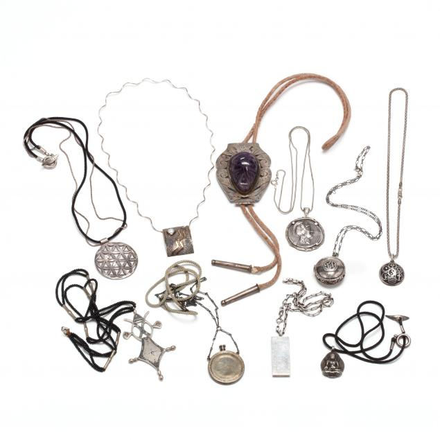 group-of-silver-necklaces