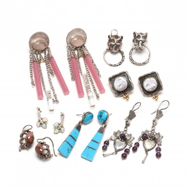 seven-pairs-of-silver-and-gem-set-earrings