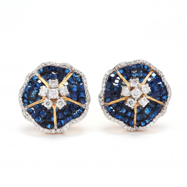 14kt-gold-synthetic-sapphire-and-diamond-earrings-signed