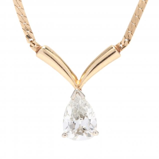 14kt-gold-pear-cut-diamond-pendant-necklace