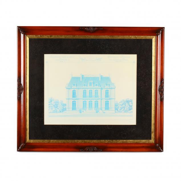 a-framed-architectural-print-from-cesar-daly-s-i-nouvelles-maisons-des-environs-de-paris-i