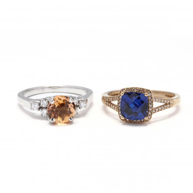 two-gold-diamond-and-gem-set-rings