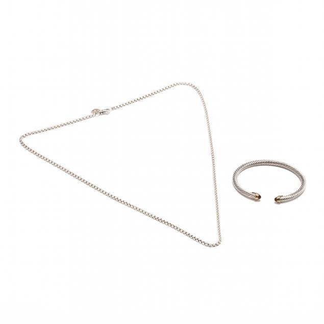 a-silver-and-18kt-gold-gem-set-cuff-bracelet-and-a-silver-necklace-david-yurman
