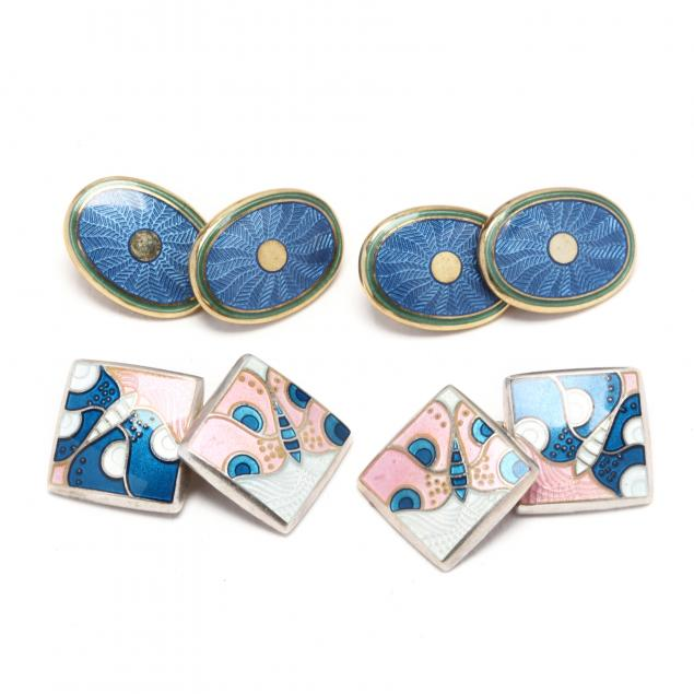 two-pairs-of-sterling-silver-and-enamel-cufflinks