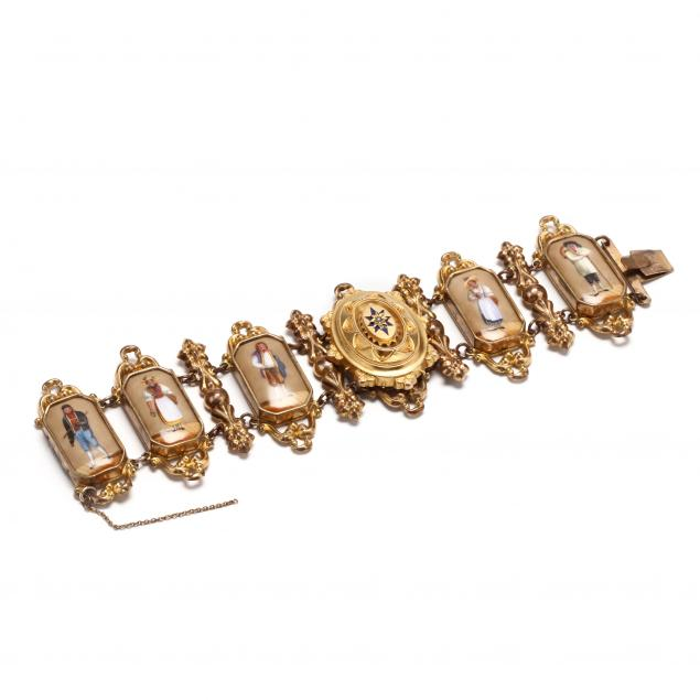 antique-18kt-gold-and-gold-filled-portrait-bracelet
