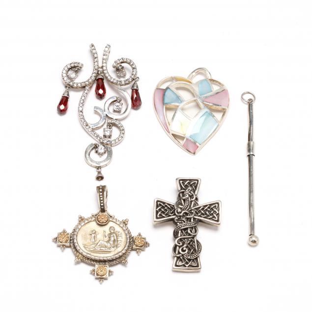group-of-silver-gem-set-pendants