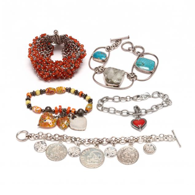 five-silver-and-gem-set-bracelets