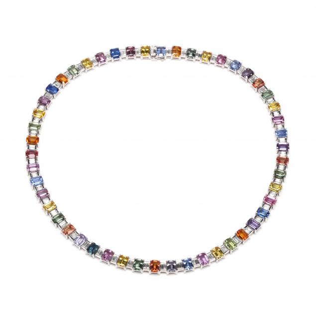 18kt-white-gold-multi-color-sapphire-and-diamond-necklace