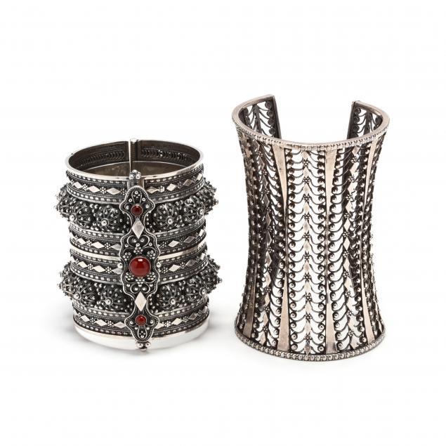 two-silver-bracelets