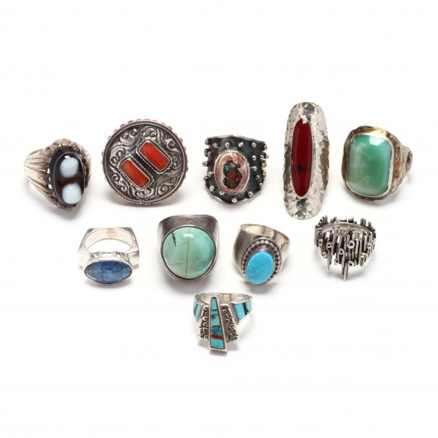 ten-silver-and-gem-set-rings