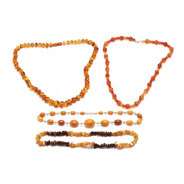 four-amber-and-carnelian-bead-necklaces
