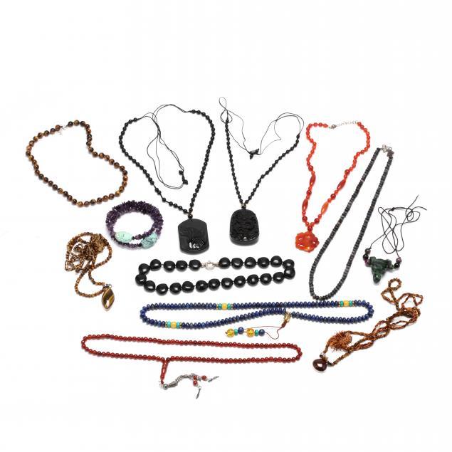 group-of-gemstone-bead-jewelry-items