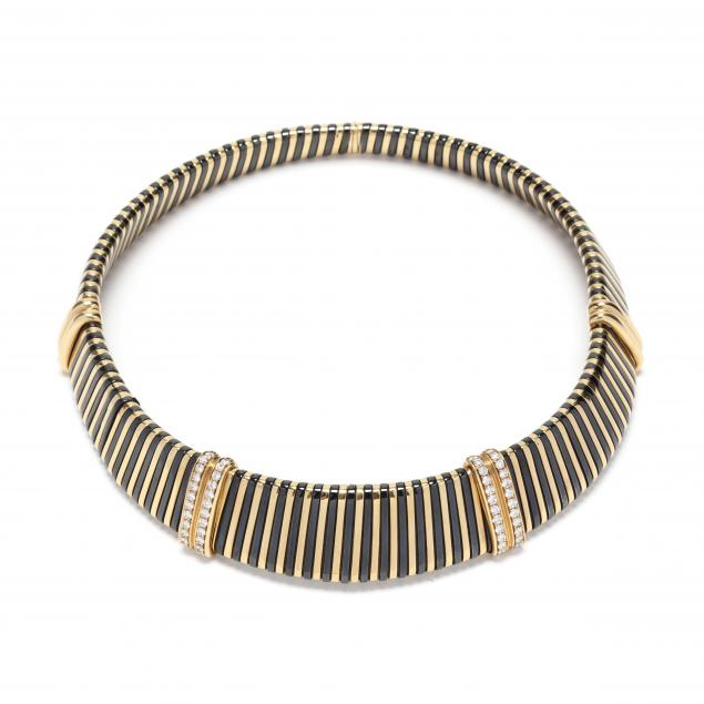 18kt-gold-diamond-and-steel-choker-necklace-italy