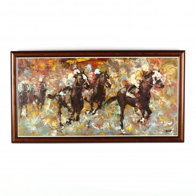 mid-century-painting-of-a-polo-match