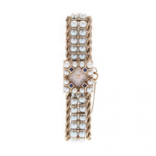 14kt-gold-pearl-and-sapphire-watch