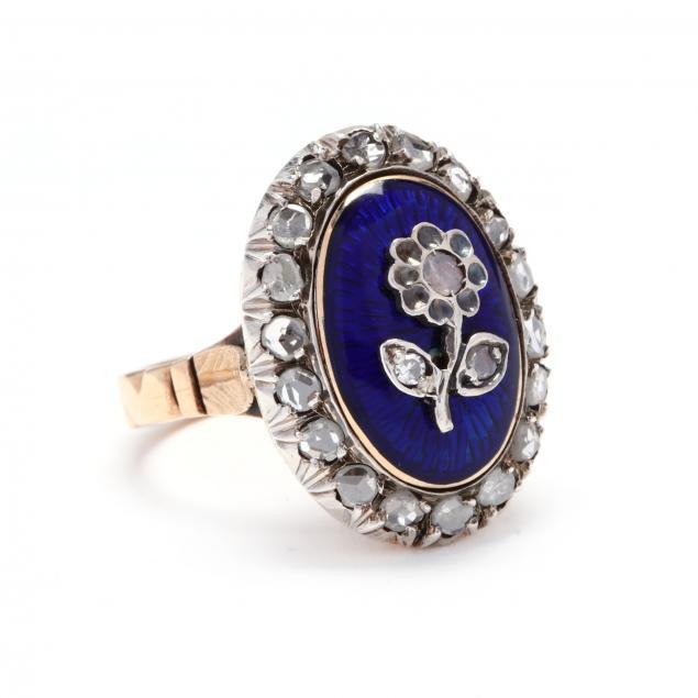antique-18kt-gold-diamond-enamel-ring
