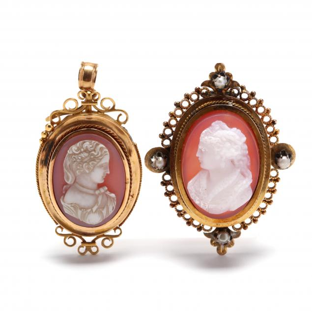 two-gold-cameo-pendants-brooches