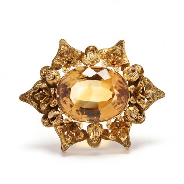 antique-gold-and-citrine-brooch