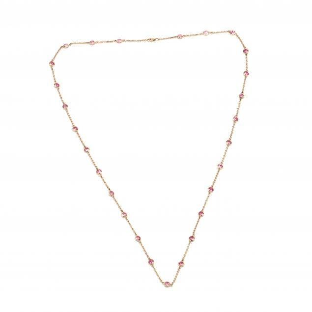 14kt-gold-and-pink-tourmaline-station-necklace