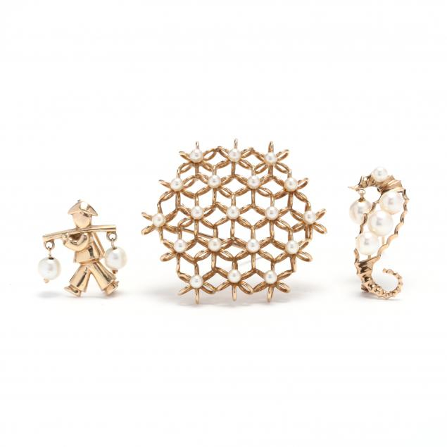 three-14kt-gold-and-pearl-brooches